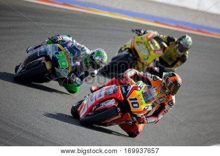 VALENCIA, SPAIN - NOV 13: 10 Marini, 70 Mulhauser, 57 Pons in Moto2 Race during Motogp Grand Prix of the Comunidad Valencia on November 13, 2016 in Valencia, Spain.