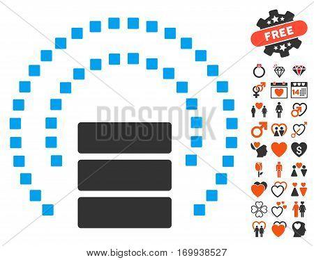 Database Sphere Shield pictograph with bonus dating design elements. Vector illustration style is flat iconic elements for web design app user interfaces.