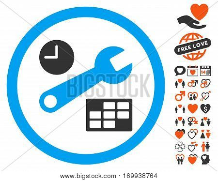 Date And Time Setup pictograph with bonus passion icon set. Vector illustration style is flat iconic elements for web design app user interfaces.