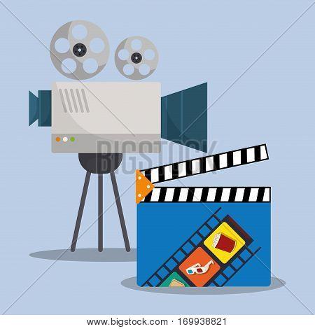 cinema camera film clapper director vector illustration eps 10