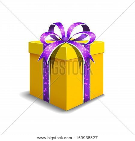 Festive gift box yellow color. Tied with purple ribbon with stars with a bow on top.