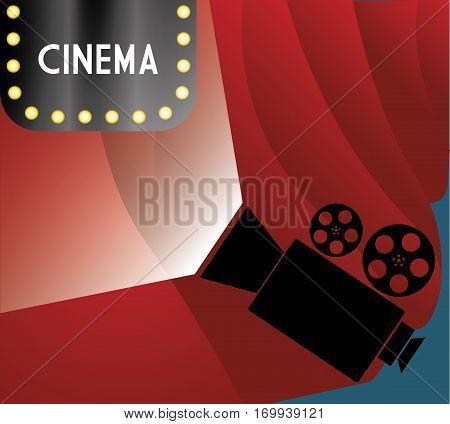 cinema billboard lights camera film curtain vector illustration eps 10