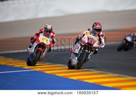 VALENCIA, SPAIN - NOV 13: 22 Lowes, 60 Simon in Moto2 Race during Motogp Grand Prix of the Comunidad Valencia on November 13, 2016 in Valencia, Spain.