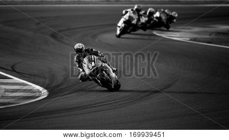 VALENCIA, SPAIN - NOV 13: Jonas Folger in Moto2 warm up during Motogp Grand Prix of the Comunidad Valencia on November 13, 2016 in Valencia, Spain.
