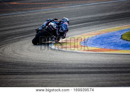 VALENCIA, SPAIN - NOV 13: Mattia Pasini in Moto2 warm up during Motogp Grand Prix of the Comunidad Valencia on November 13, 2016 in Valencia, Spain.