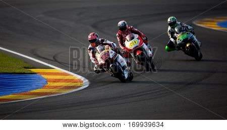VALENCIA, SPAIN - NOV 13: 22 Lowes, 60 Simon, 70 Mulhauser in Moto 2 during Motogp Grand Prix of the Comunidad Valencia on November 13, 2016 in Valencia, Spain.