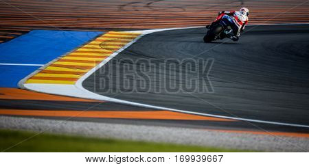 VALENCIA, SPAIN - NOV 13: Sam Lowes in Moto2 warm up during Motogp Grand Prix of the Comunidad Valencia on November 13, 2016 in Valencia, Spain.