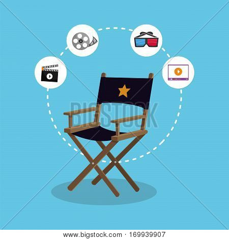 director chair producer action icons vector illustration eps 10