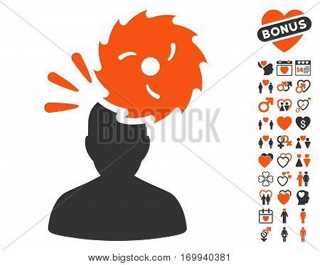 Destroy Person icon with bonus decorative clip art. Vector illustration style is flat iconic symbols for web design app user interfaces.