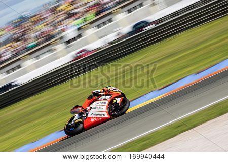 VALENCIA, SPAIN - NOV 13: Luca Marini in Moto2 Race during Motogp Grand Prix of the Comunidad Valencia on November 13, 2016 in Valencia, Spain.