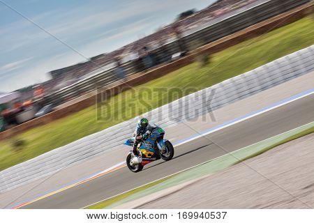 VALENCIA, SPAIN - NOV 13: Morbidelli in Moto2 Race during Motogp Grand Prix of the Comunidad Valencia on November 13, 2016 in Valencia, Spain.
