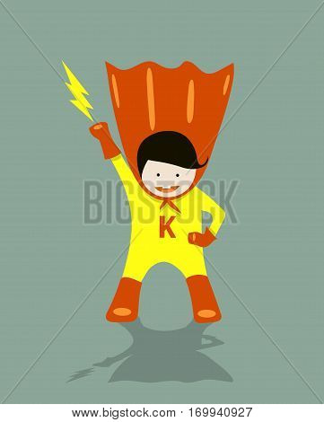 Boykid Super Hero Illustration vector, strong, male, orange, diaper, fighter,