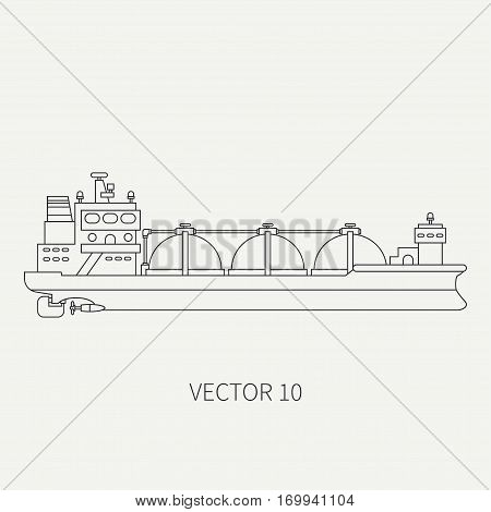 Line flat vector retro icon ocean tanker ship. Merchant fleet. Cartoon vintage style. Oil and gas. Sea. Barge. Comercial. Transportation. Captain. Sail. Simple. Illustration and element for design