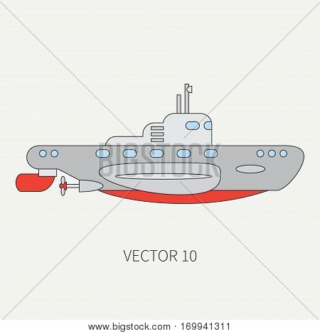 Line flat vector color icon naval diese submarine. Dreadnought warship. Cartoon vintage style. War. Navy. Ocean. Sea. Torpedo. Armor. Squadron. Captain. Simple Illustration and element for design