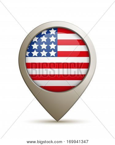 Vector Illustration Of A Straight Location Pin With USA Flag