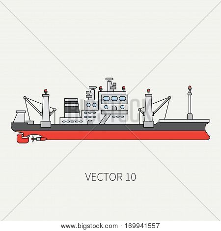 Line flat vector color icon comercial trawler ship. Fishing fleet. Cartoon style. Ocean. Sea. Net. Refrigerator. Seafood. Industrial. Marine preserves. Captain Sail Illustration element for design