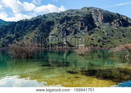 The lake of Kournas  village at Crete island