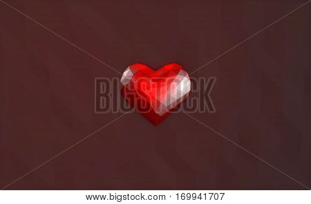 3D Illustration - Low poly glass heart