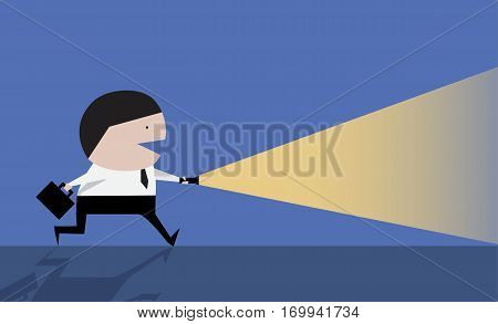 Businessman using flashlight cute vector, search, human, mustache, profession,
