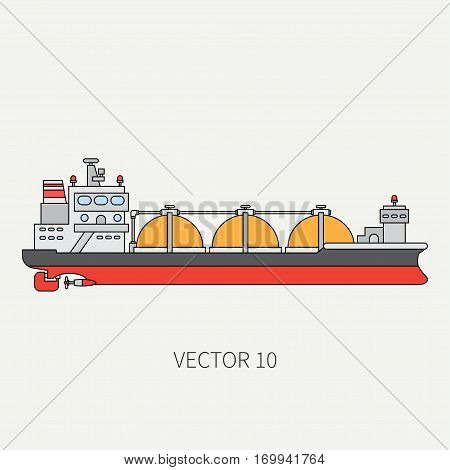 Line flat vector color icon ocean tanker ship. Merchant fleet. Cartoon vintage style. Oil and gas. Sea. Barge. Comercial. Transportation. Captain. Sail. Simple. Illustration and element for design