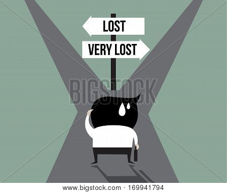 Businessman lost with the signpost, way, leader, arrow, right, correct,