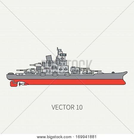 Line flat vector color icon naval battleship. Dreadnought warship. Cartoon vintage style. War. Navy. Ocean. Sea. Guns. Armor. Squadron. Captain. Sail Simple Illustration and element for design