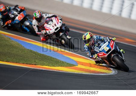 VALENCIA, SPAIN - NOV 12: 8 Hector Barbera during Motogp Grand Prix of the Comunidad Valencia on November 12, 2016 in Valencia, Spain.