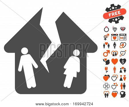 Divorce House pictograph with bonus passion pictures. Vector illustration style is flat iconic symbols for web design app user interfaces.