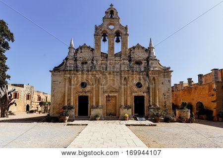 Arkadi famous historic monastery at Crete  island Greece