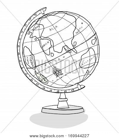 cute World Globe line art illustration geography, west, background, land, ocean, isolated, usa, white, concept, internet, shape,