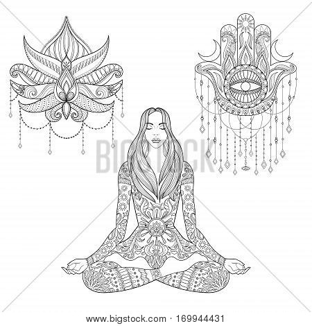 Woman sitting in lotus position, hamsa hand, flower tattoo design.  Vector ornate girl silhouette for adult coloring pages, meditation, yoga, gipsy soul, zentangle ethnic boho set.