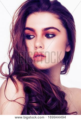 Ginger red long hair.Fashion beauty portrait red lips with blue perple colors on white background