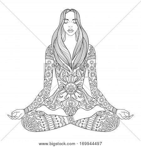 Woman sitting in lotus pose.  Vector ornate girl silhouette for adult coloring pages, meditation, yoga, gipsy soul, hand drawn ethnic motif.
