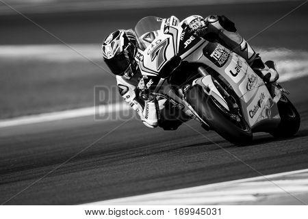 VALENCIA, SPAIN - NOV 12: Lorenzo Baldassarri in Moto2 Qualifying during Motogp Grand Prix of the Comunidad Valencia on November 12, 2016 in Valencia, Spain.