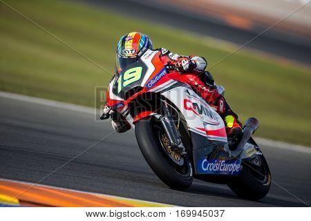 VALENCIA, SPAIN - NOV 12: Xavier Simeon in Moto2 Qualifying during Motogp Grand Prix of the Comunidad Valencia on November 12, 2016 in Valencia, Spain.