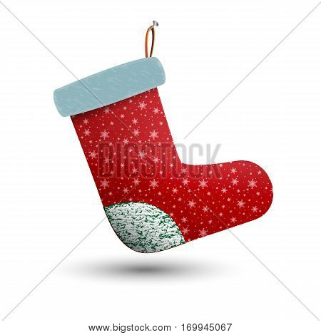 Hung on a nail festive Christmas gift sock. Warm winter felt boot with snowflakes. Shoes with fur. Beautiful red boots.