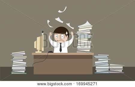 employees Hard working vector illustration idea, accounting, suit, busy, illustration, retro, humorous,