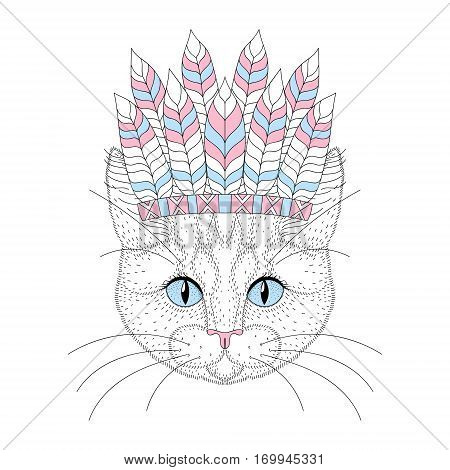Cute cat portrait with war bonnet on head. Hand drawn kitty face, fashion animal cartoon in aztec style, illustration for t-shirt print, kids greeting card, invitation, tattoo design.