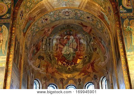 SAINT-PETERSBURG RUSSIA - JANUARY 05 2017: Mosaic wall painting of the Church of the Savior on Blood in Saint-Petersburg.