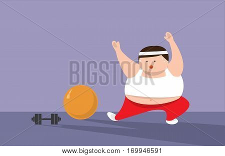 Fat Man or Fat women are exercising