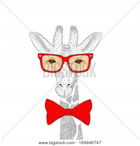 Vector cute giraffe face with sunglasses, bow tie. Fashion hand drawn animal illustration for t-shirt print, kids greeting card, wear.