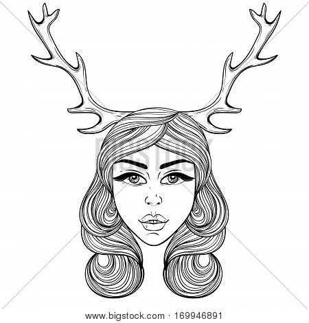 Beautiful girl with deer's horns like shaman.  Vector ornate boho woman for adult coloring pages, spirituality, occultism symbol, gypsy soul, hand drawn ethnic motif.
