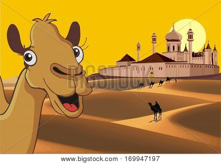 Fortress in the desert - the African landscape. Camels in the desert. Vector illustration
