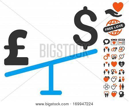 Dollar Pound Swing icon with bonus love symbols. Vector illustration style is flat iconic symbols for web design app user interfaces.
