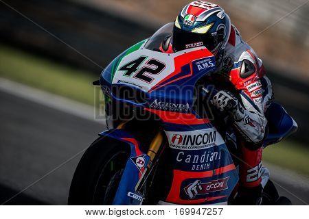 VALENCIA, SPAIN - NOV 12: Federico Fuligni in Moto2 Qualifying during Motogp Grand Prix of the Comunidad Valencia on November 12, 2016 in Valencia, Spain.