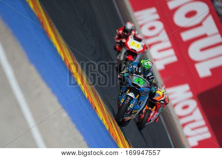VALENCIA, SPAIN - NOV 12: 21 Morbidelli in Moto2 Qualifying during Motogp Grand Prix of the Comunidad Valencia on November 12, 2016 in Valencia, Spain.
