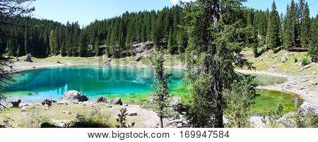 Panoramic photo of Lake Karersee (Italy - Trentino Alto Adige)