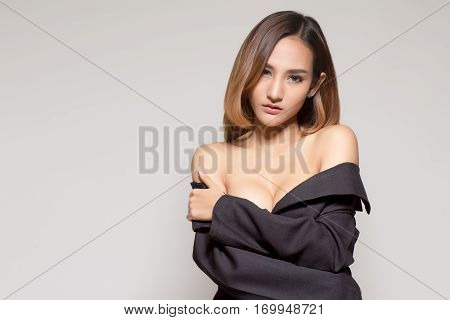 Beautiful Slim Body Of Asian Women In Studio With White Background