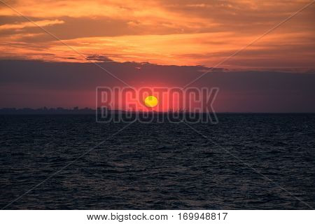 sunset landscape with city sillhouette on odesa ukraina