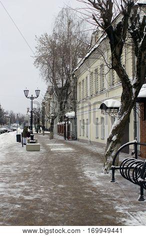 Winter street in Zvenigorod small Russian town. Day light